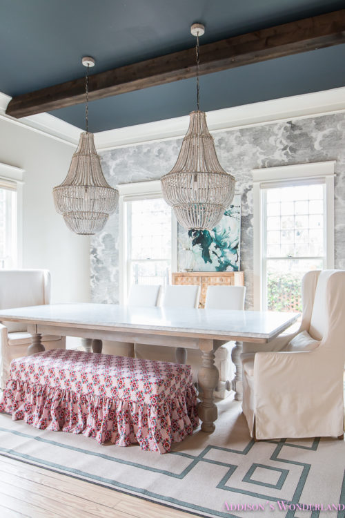 dining-room-bench-fabric-ruffles-beaded-chandelier-cloud-wallpaper-marble-table-parsons-chairs-wonderland (5 of 6)