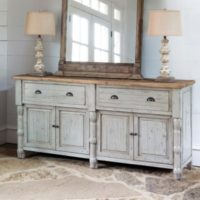Painted French Buffet With Old Elm Top