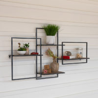 Multi Level Wood and Metal Shelf