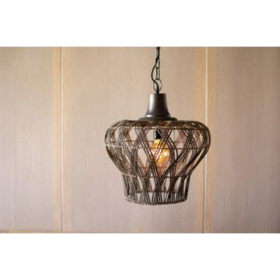 Rattan Bell Pendant Light