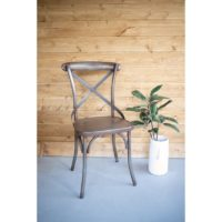 Rustic Iron Cross Back Dining Chair Set of 2
