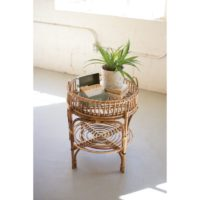 Round Cane Coffee Table With Removable Tray