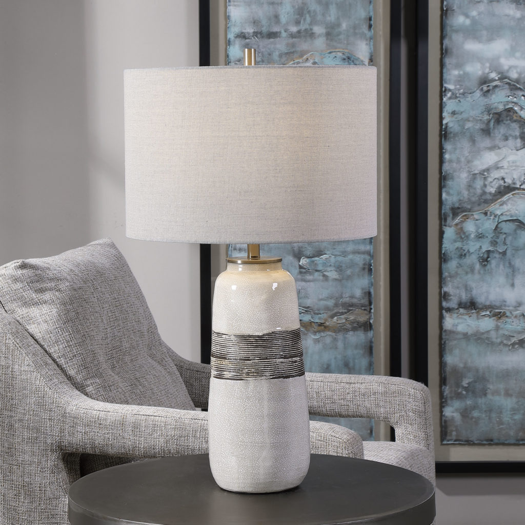 Comanche White Crackle Table Lamp