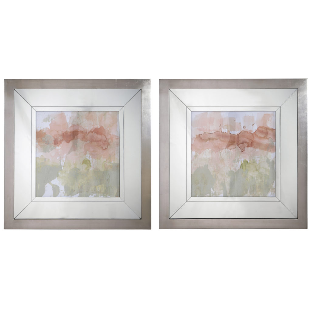 Dusty Blush & Olive Framed Prints, Set/2