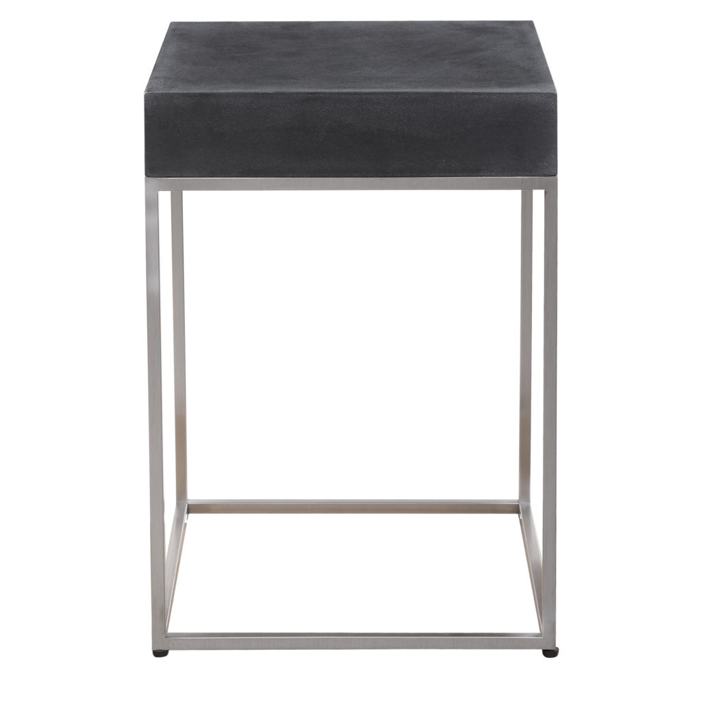 Jase Black Concrete Accent Table