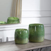 Matcha Green Glass Vases, S/2
