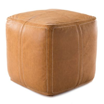Nikki Chu by Suave Solid Tan Cube Pouf