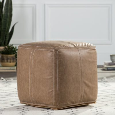 Nikki Chu by Suave Solid Taupe Cube Pouf