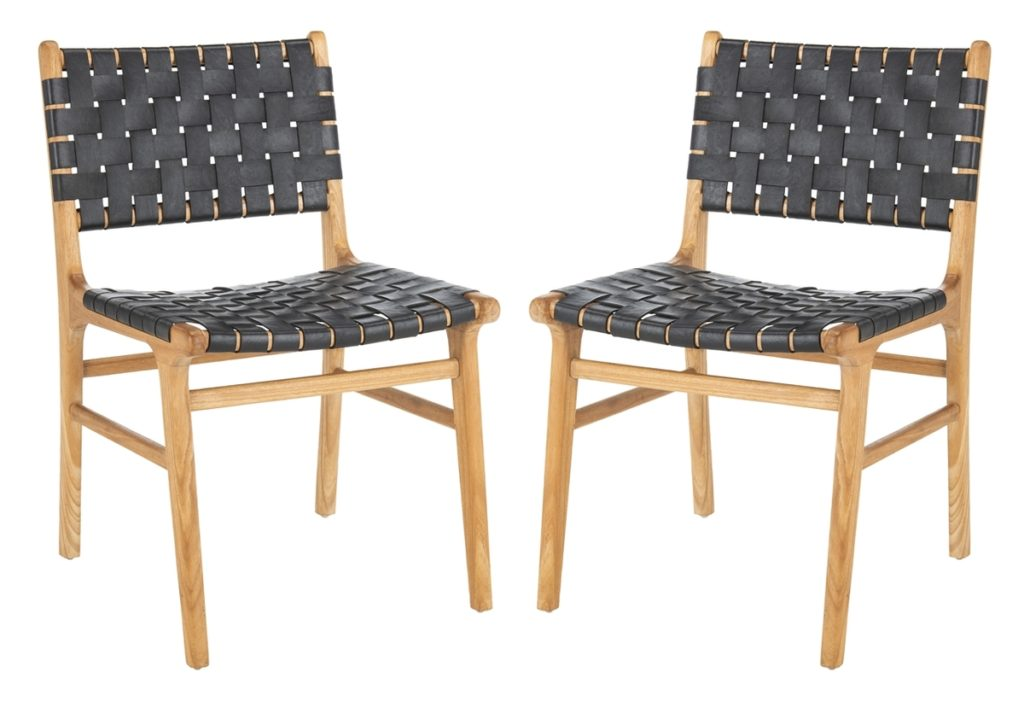 Taika Woven Leather Dining Chair, Set of 2
